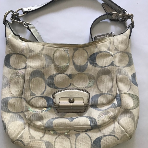 50%-Coach Kristin Sequin Embellished Hobo Bag
